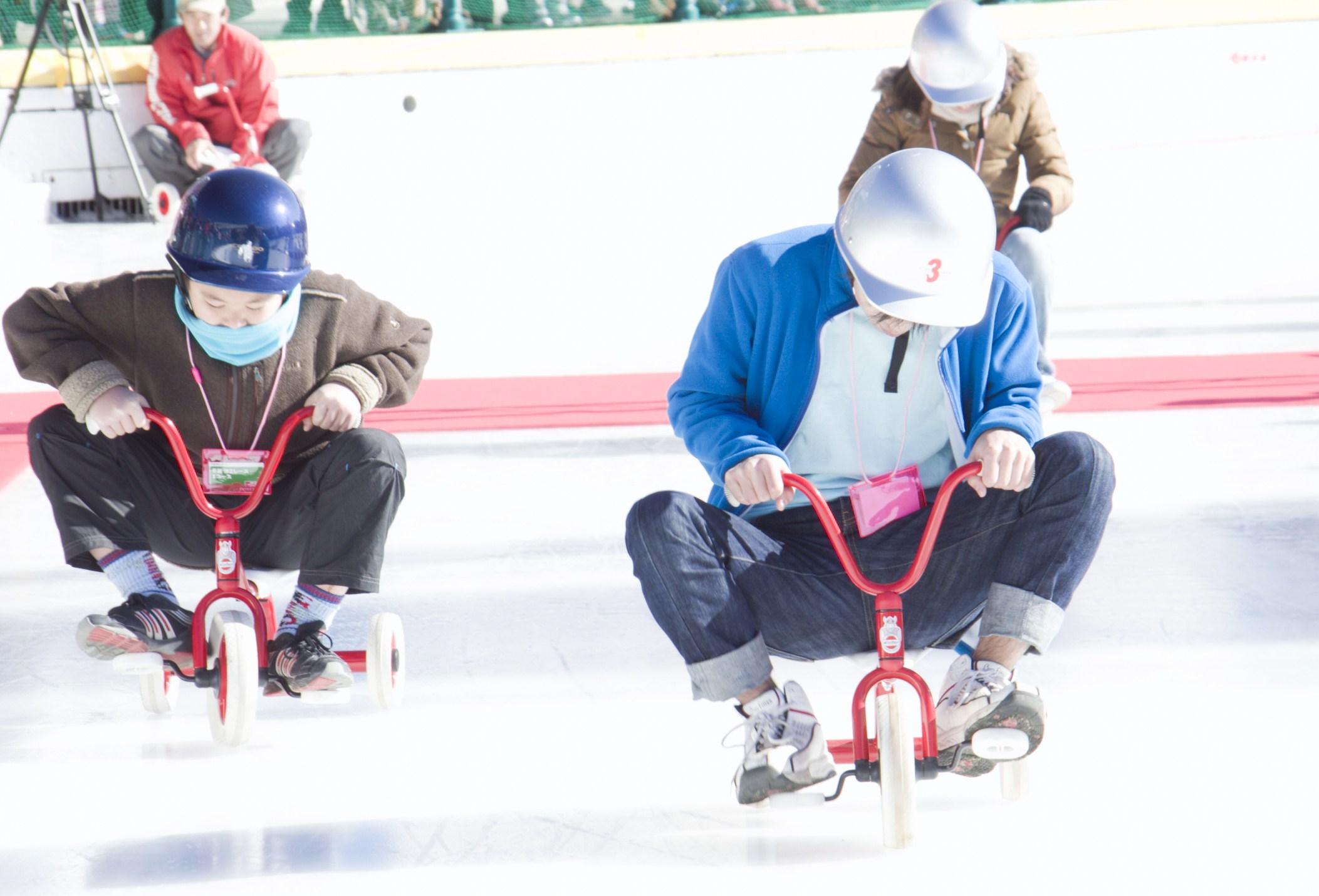 氷上つるつる三輪車大会
